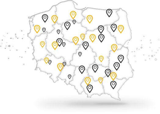 mapa Polski z partnerami taxi polska