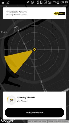 widok aplikacji taxi polska